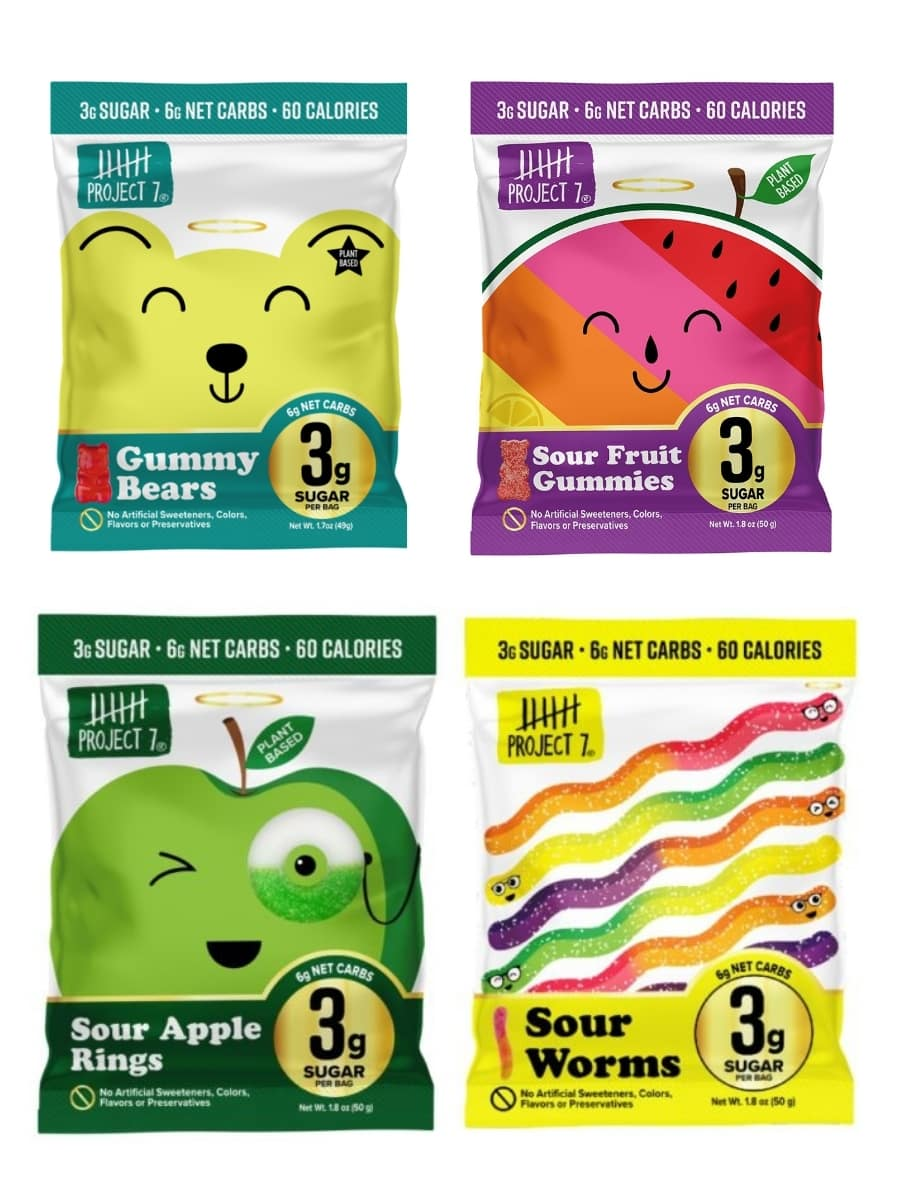 A bag of Project seven gummy bears, to the right of that Project seven sour fruit gummy's, below that Project seven sour worms, and to the left of that Project seven sour apple rings.