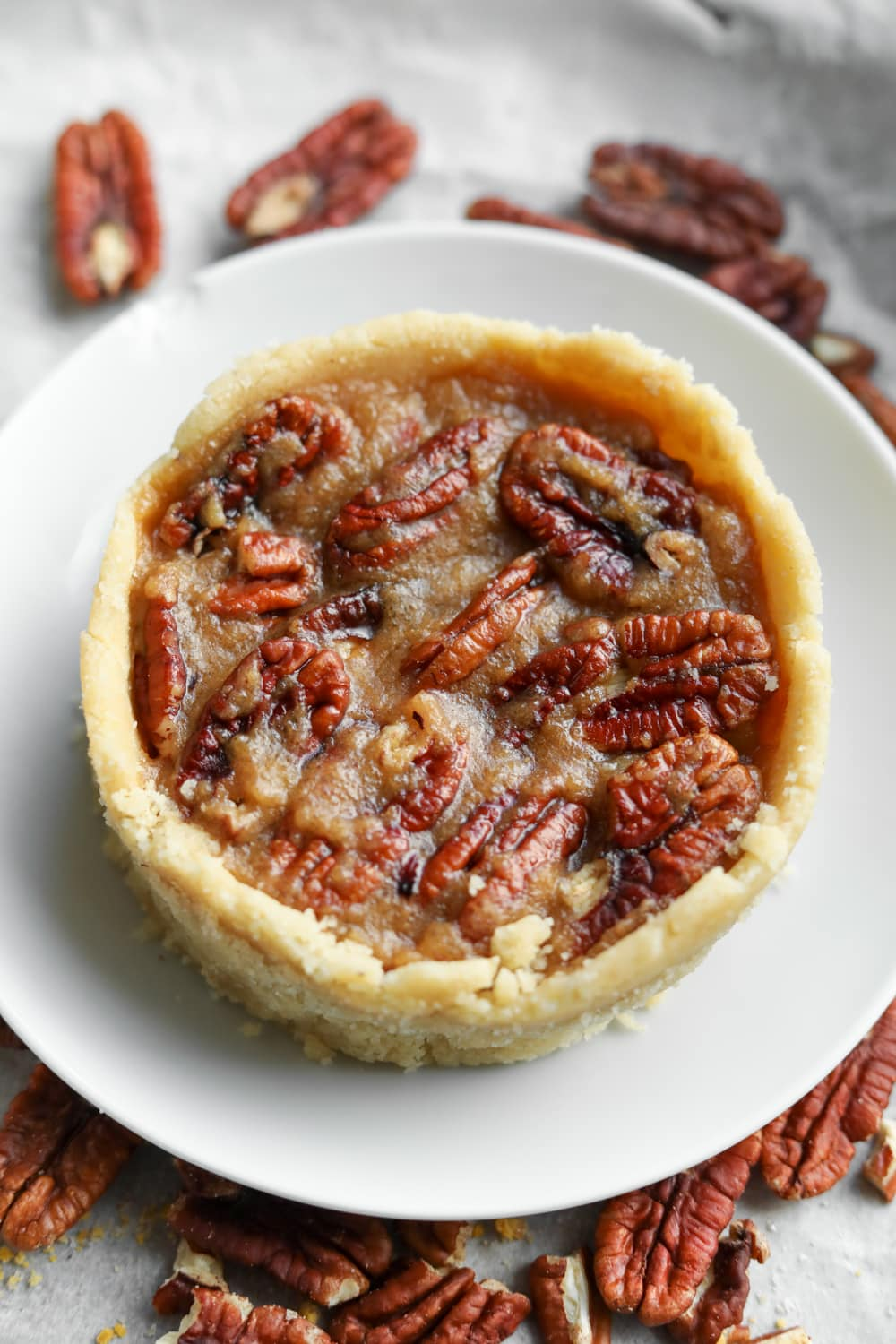 Pecan pie on a white plate with pecans surrounding it.
