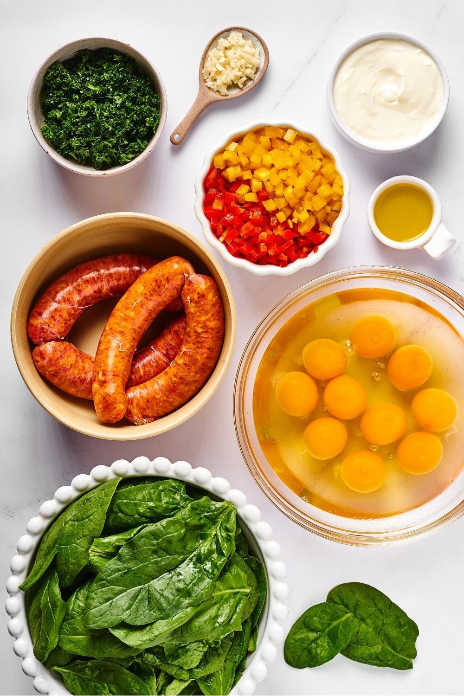 Ingredients for a breakfast casserole.
