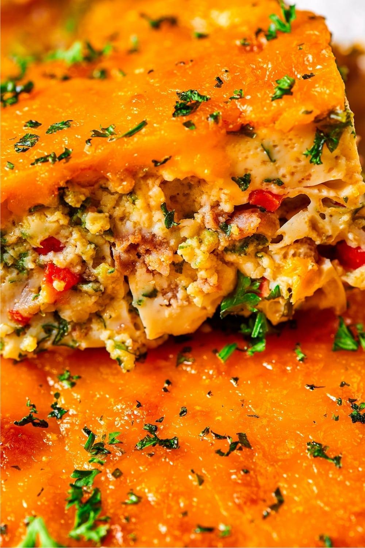 A slice of breakfast casserole.